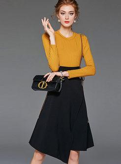 Brief O-neck Long Sleeve Patchwork Dress