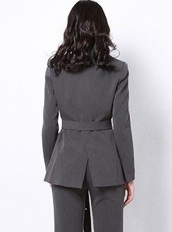 Work Notched Long Sleeve Blazer