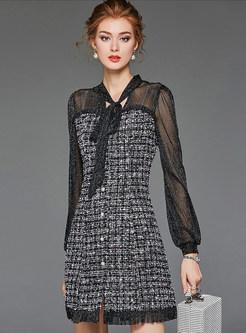 V-neck Perspective Sleeve Patchwork Plaid A Line Dress