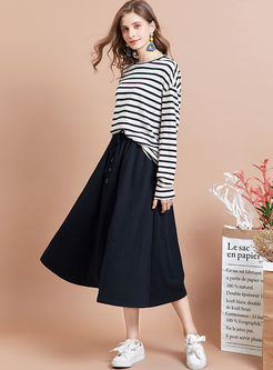 Brief High Waisted Big Hem Skirt