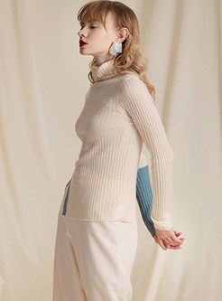 Light Apricot High Collar Side Slit Pullover Sweater