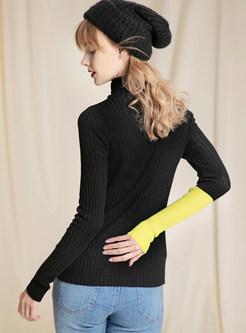 Black High Collar Side Slit Pullover Sweater