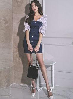 V-neck Plaid Patchwork Bodycon Dress