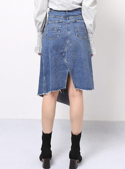 High Waisted Irregular Denim Skirt