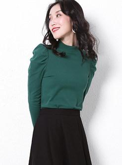 Green Half High Collar Bubble Sleeve T-shirt
