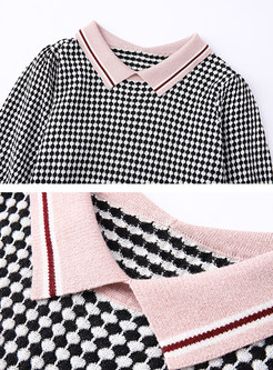Lapel Half Color-blocked Plaid Sweater