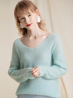 V-neck Long Sleeve Pullover Sweater