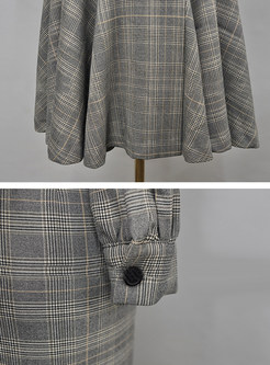 Notched Plaid Double-breasted Peplum Dress