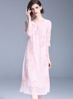 Pink Embroidered Chiffon Shift Dress