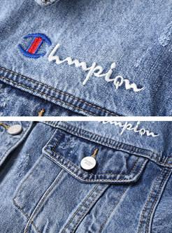 Lapel Letter Embroidered Denim Coat