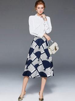 Long Sleeve Blouse & Print A Line Skirt