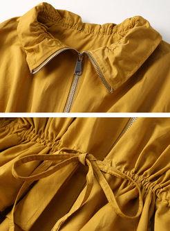 Ruffled Neck Loose Short Trench Coat