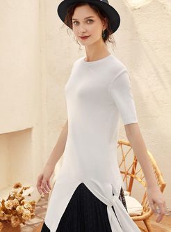 Solid Color O-neck Irregular T-shirt