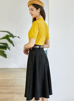 Short Sleeve Knit Top & Black Skirt With Belt
