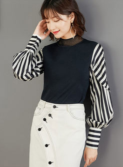 Standing Collar Striped Patchwork Sweater