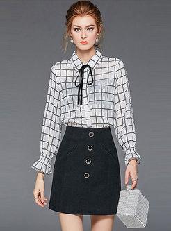 Lapel Plaid Blouse & High Waisted Mini Skirt