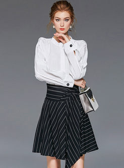 White Long Sleeve Blouse & Striped A Line Skirt