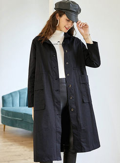 Lapel Single-breasted Loose Trench Coat