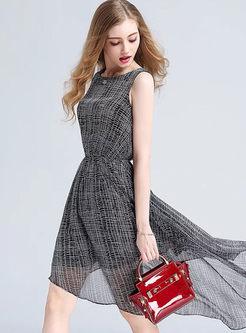 O-neck Sleeveless Waist Plaid A Line Dress