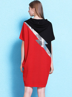 Hooded Color-blocked Loose Shift Dress