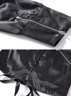 Solid Color O-neck Zipper Short Coat