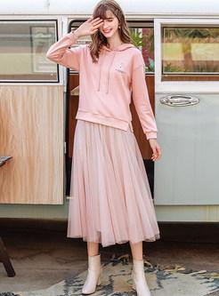 Light Pink Mesh Pleated Skirt