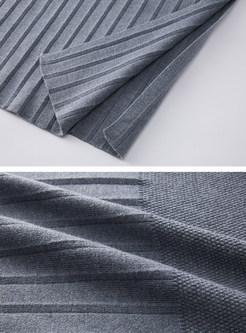 Solid Color Loose Striped Split Knit Dress