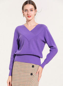 Purple V-neck Slim Long Sleeve Sweater