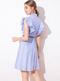 Lapel Ruffled Sleeve Dot Skater Dress