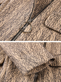 Metal Color Notched Zipper Coat