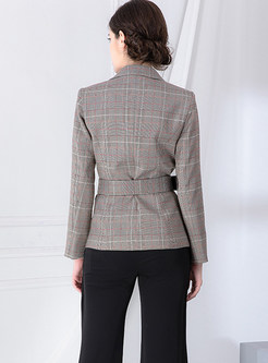 Notched Double-breasted Plaid Slim Blazer