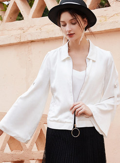 Solid Color Flare Sleeve Lapel Zipper Jacket
