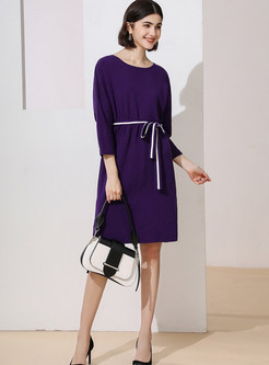Casual O-neck Loose Knit Dress With Belt