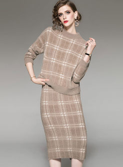 Loose Plaid Knitted Two Piece Outfits