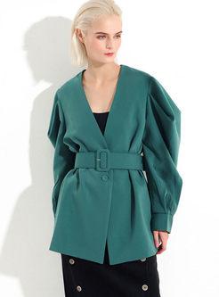 V-neck Solid Color Loose Waist Coat