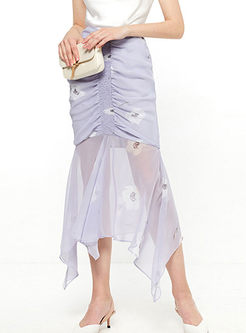 Sweet High Waist Print Bodycon Skirt