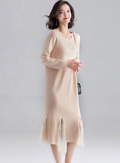 O-neck Long Sleeve Knitted Dress