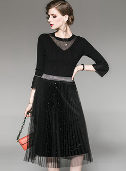 Flare Sleeve Slim Top & Patchwork Mesh Skirt