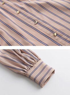 Slash Neck Striped Loose Blouse