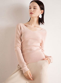 V-neck Long Sleeve Pullover Slim Sweater