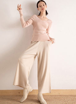 V-neck Long Sleeve Pullover Slim Sweater