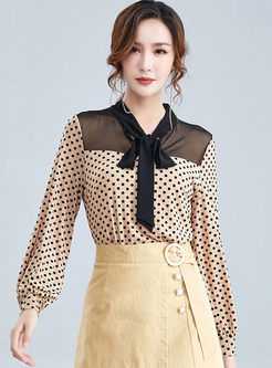Bowknot Mesh Patchwork Dot Blouse