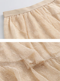 Elastic High Waisted Lace Cake Skirt