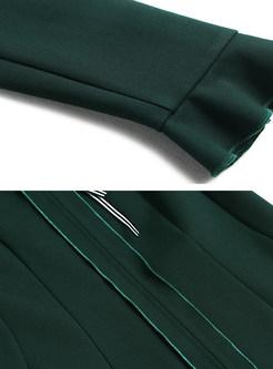 Retro Stand Collar Tie Flare Sleeve Skater Dress