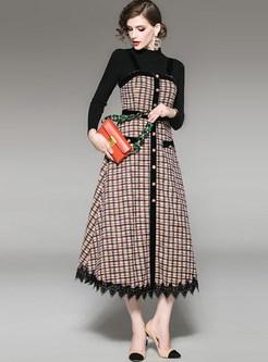 Half Collar Slim Top & Plaid Camisole Dress