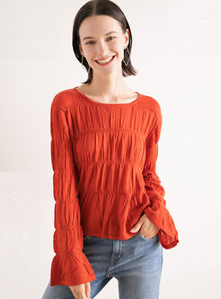 O-neck Long Sleeve Pullover T-shirt