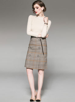 Brief Long Sleeve Sweater & Plaid Slim Skirt