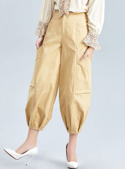 Solid Color High Waisted Lantern Pants