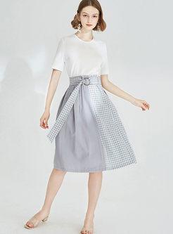 Casual Plaid Patchwork Midi Skirt