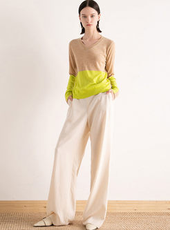 Color-blocked V-neck Loose Pullover Sweater
